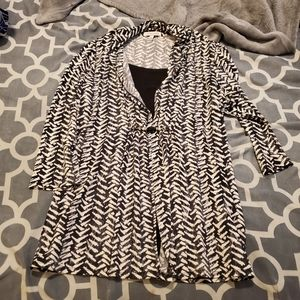 """Blk & wht """"layered"""" tunic by Notations"""